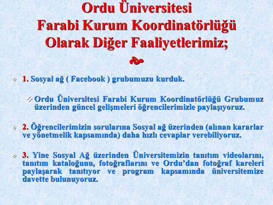 Ordu Üniversitesi Farabi Kurum Koordinatörlüğü Olarak Diğer Faaliyetlerimiz;   1. Sosyal ağ ( Facebook ) grubumuzu kurduk.  Ordu Üniversitesi Farab