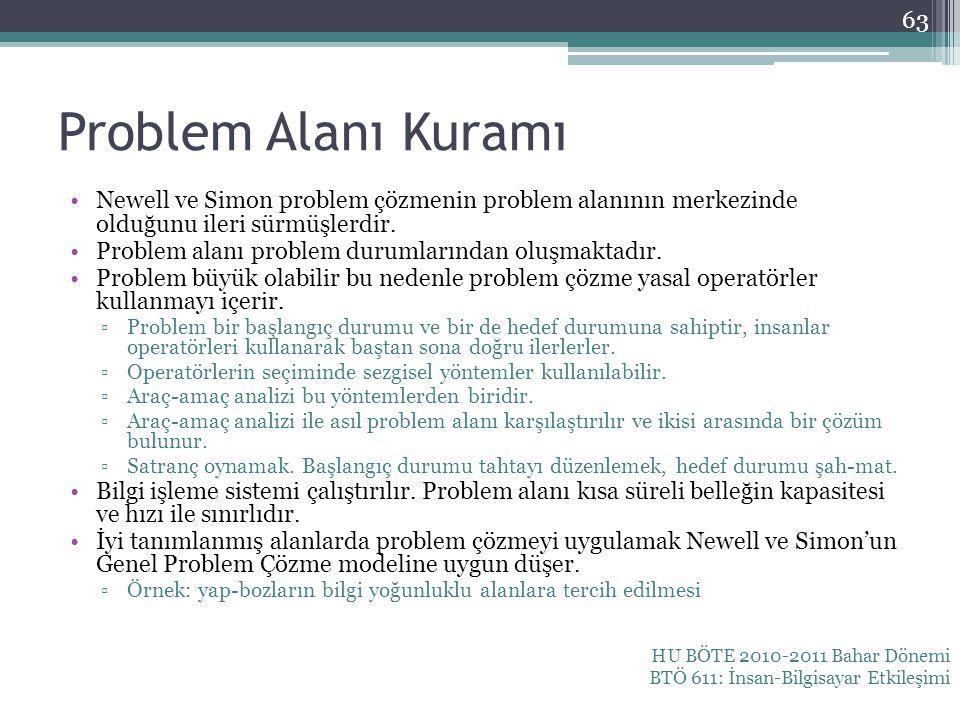 Problem Alanı Kuramı Newell ve Simon problem çözmenin problem alanının merkezinde olduğunu ileri sürmüşlerdir. Problem alanı problem durumlarından olu