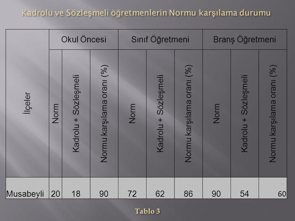 İlçeler Okul ÖncesiSınıf ÖğretmeniBranş Öğretmeni Norm Kadrolu + Sözleşmeli Normu karşılama oranı (%) Norm Kadrolu + Sözleşmeli Normu karşılama oranı