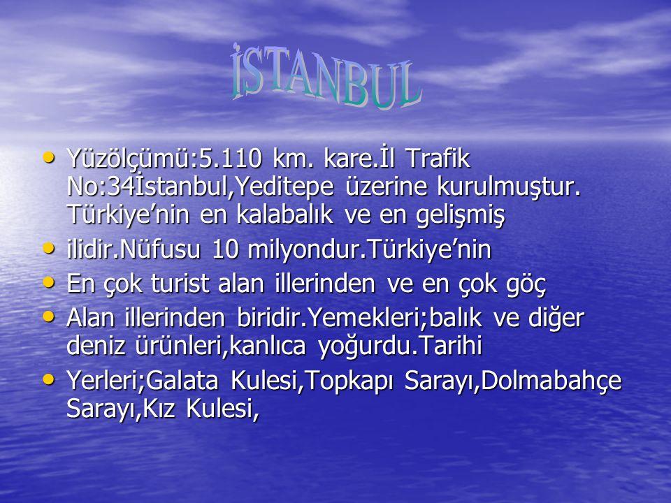 Yüzölçümü:5.110 km. kare.İl Trafik No:34İstanbul,Yeditepe üzerine kurulmuştur.