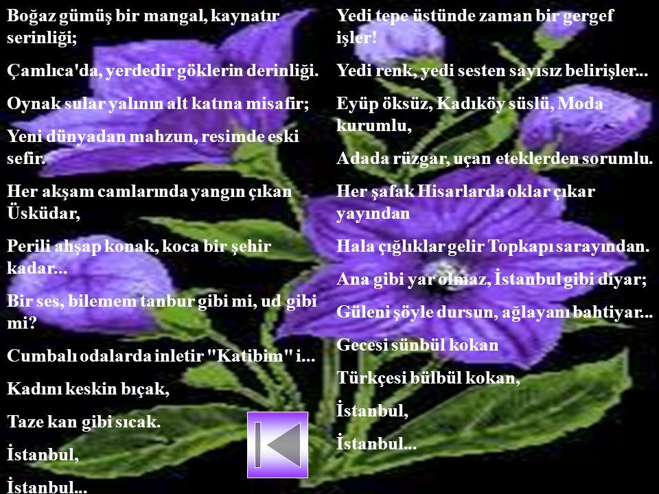 Ruhumu eritip de kalıpta dondurmuşlar; Onu İstanbul diye toprağa kondurmuşlar. İçimde tüten birşey; hava, renk, eda, iklim; O benim, zaman, mekan aşıp
