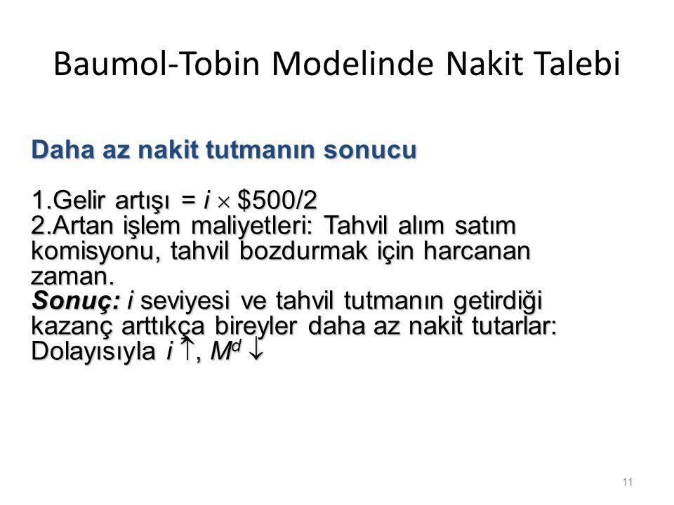 Baumol-Tobin Modelinde Nakit Talebi 11 Daha az nakit tutmanın sonucu 1.Gelir artışı = i  $500/2 2.Artan işlem maliyetleri: Tahvil alım satım komisyonu, tahvil bozdurmak için harcanan zaman.