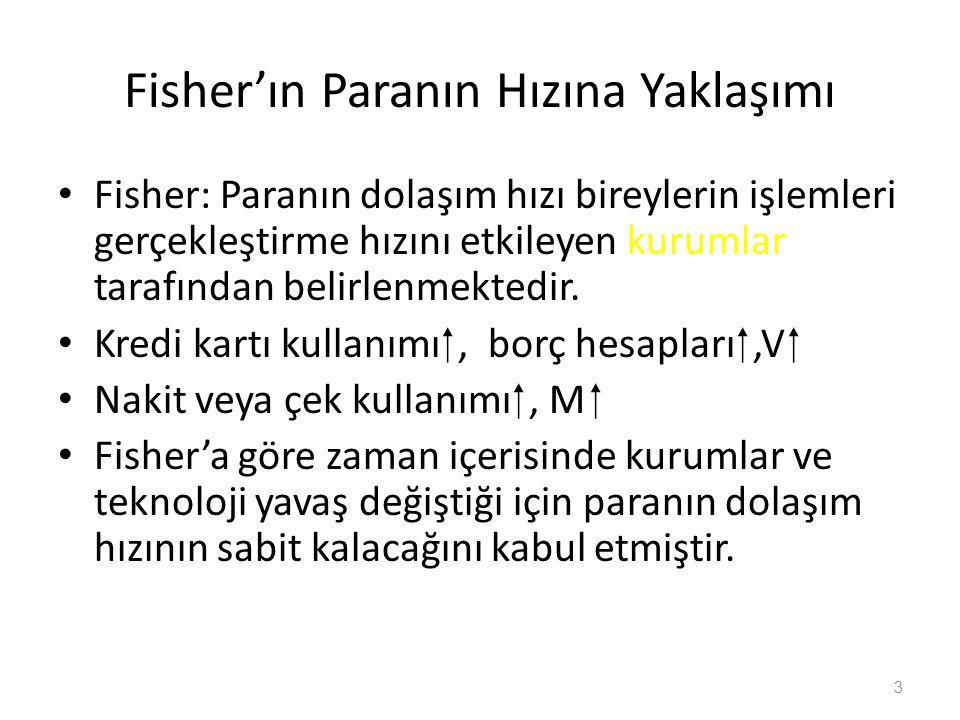 Fisher'ın Paranın Hızına Yaklaşımı Fisher: Paranın dolaşım hızı bireylerin işlemleri gerçekleştirme hızını etkileyen kurumlar tarafından belirlenmektedir.