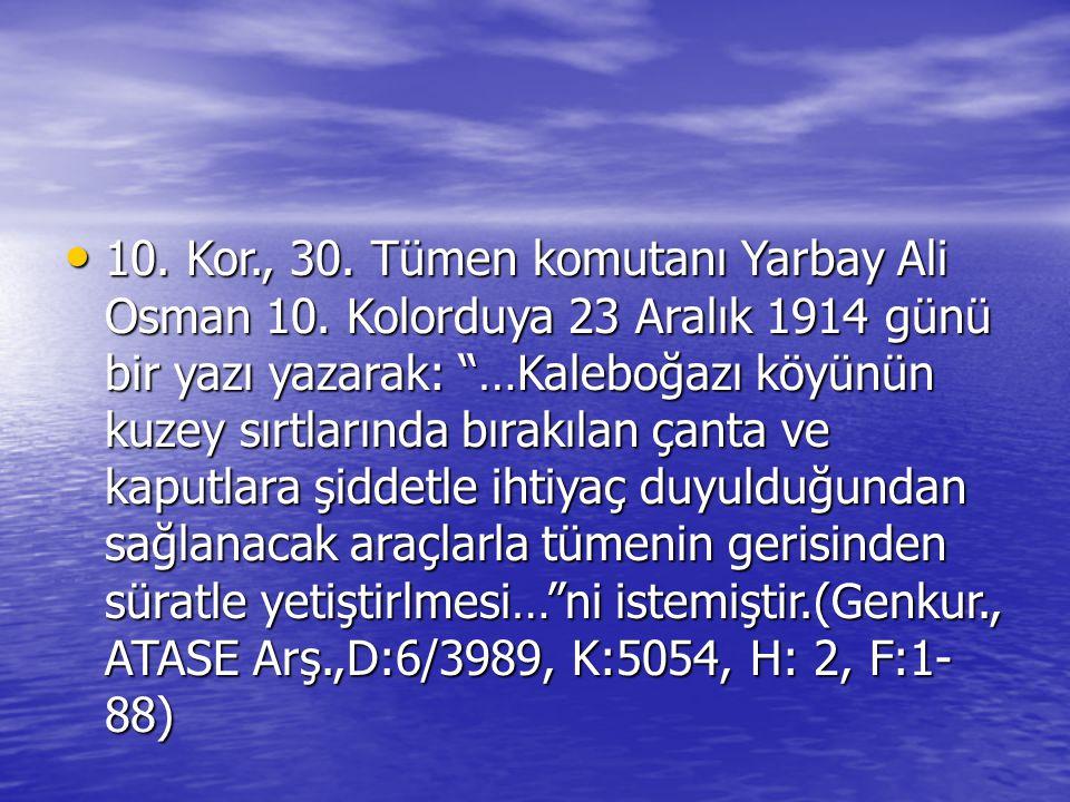 """10. Kor., 30. Tümen komutanı Yarbay Ali Osman 10. Kolorduya 23 Aralık 1914 günü bir yazı yazarak: """"…Kaleboğazı köyünün kuzey sırtlarında bırakılan çan"""
