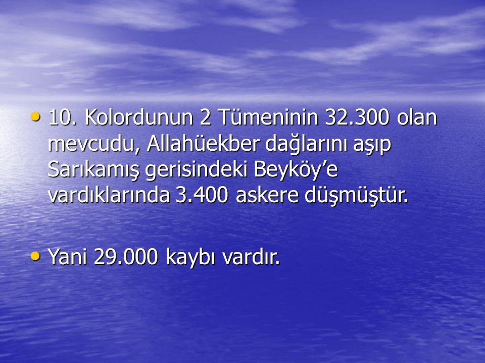 10. Kolordunun 2 Tümeninin 32.300 olan mevcudu, Allahüekber dağlarını aşıp Sarıkamış gerisindeki Beyköy'e vardıklarında 3.400 askere düşmüştür. 10. Ko