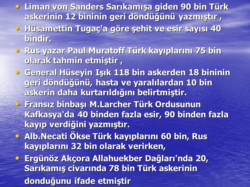 Liman von Sanders Sarıkamışa giden 90 bin Türk askerinin 12 bininin geri döndüğünü yazmıştır, Liman von Sanders Sarıkamışa giden 90 bin Türk askerinin