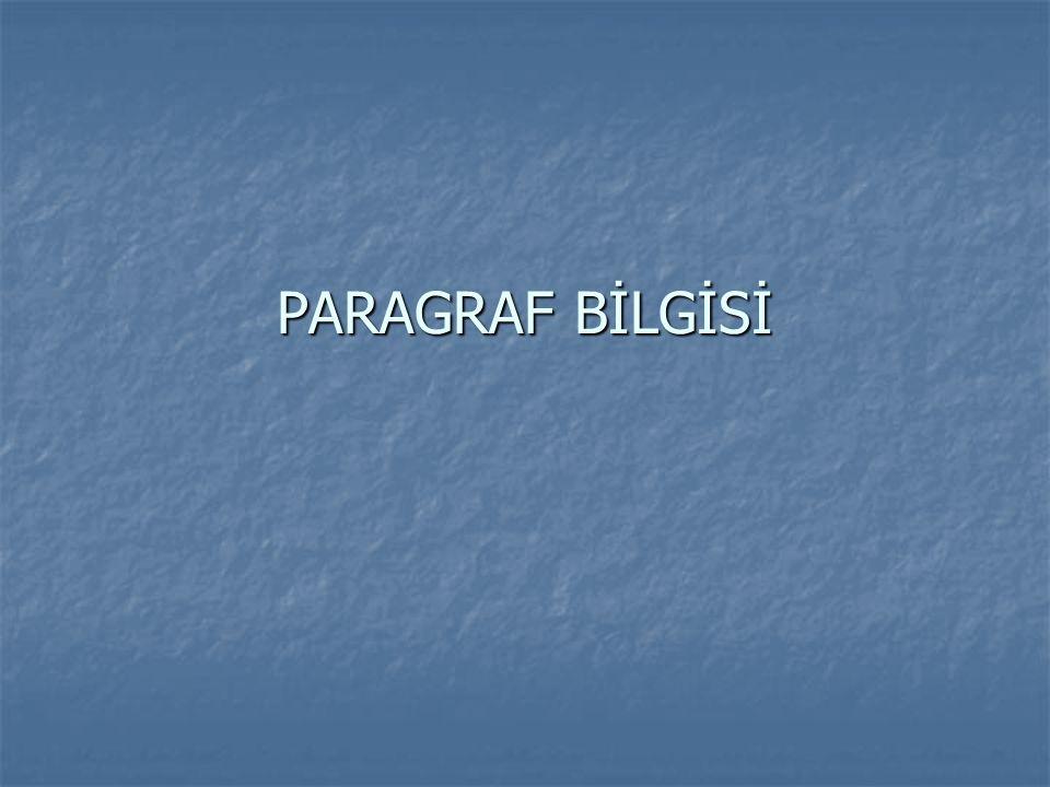 Paragraf Bilgisi  Paragrafın Tanımı  Paragraf Türleri  Paragrafın Öğeleri  Paragrafın Yapısı  Paragrafta Anlatım Biçimleri  Düşünceyi Geliştirme Yolları