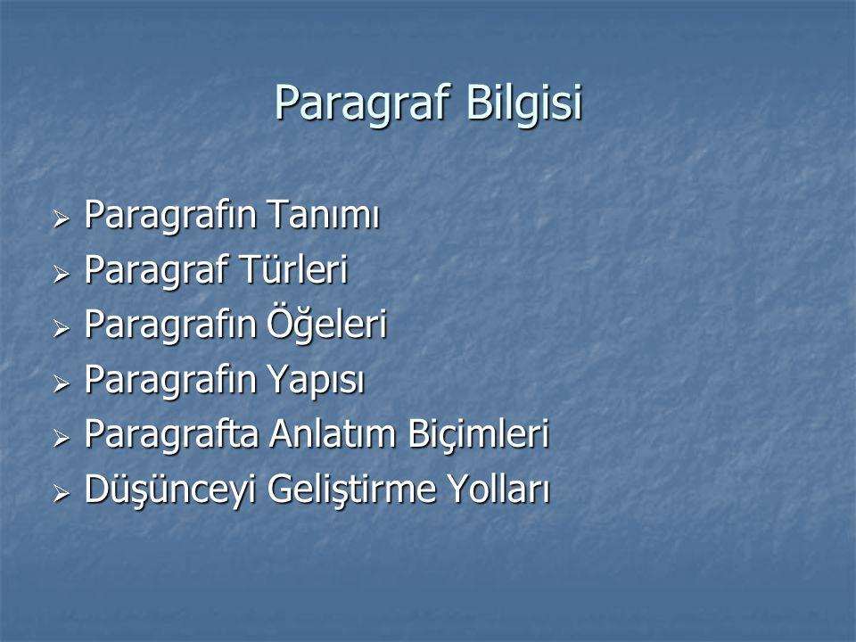 Paragraf Bilgisi  Paragrafın Tanımı  Paragraf Türleri  Paragrafın Öğeleri  Paragrafın Yapısı  Paragrafta Anlatım Biçimleri  Düşünceyi Geliştirme