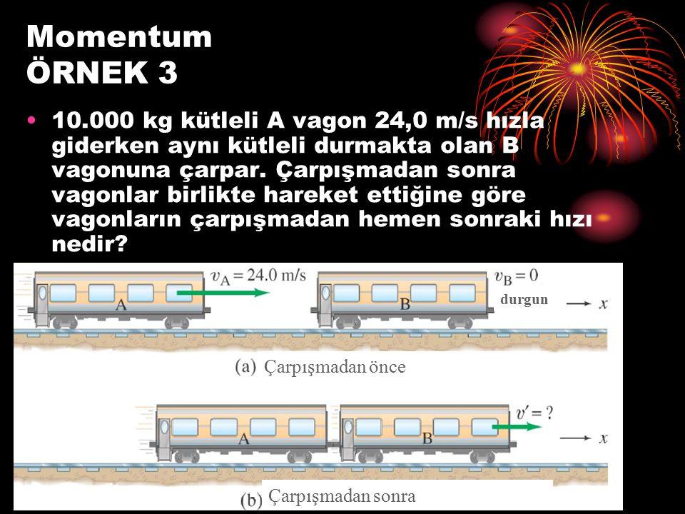 Momentum ÖRNEK 3 10.000 kg kütleli A vagon 24,0 m/s hızla giderken aynı kütleli durmakta olan B vagonuna çarpar. Çarpışmadan sonra vagonlar birlikte h