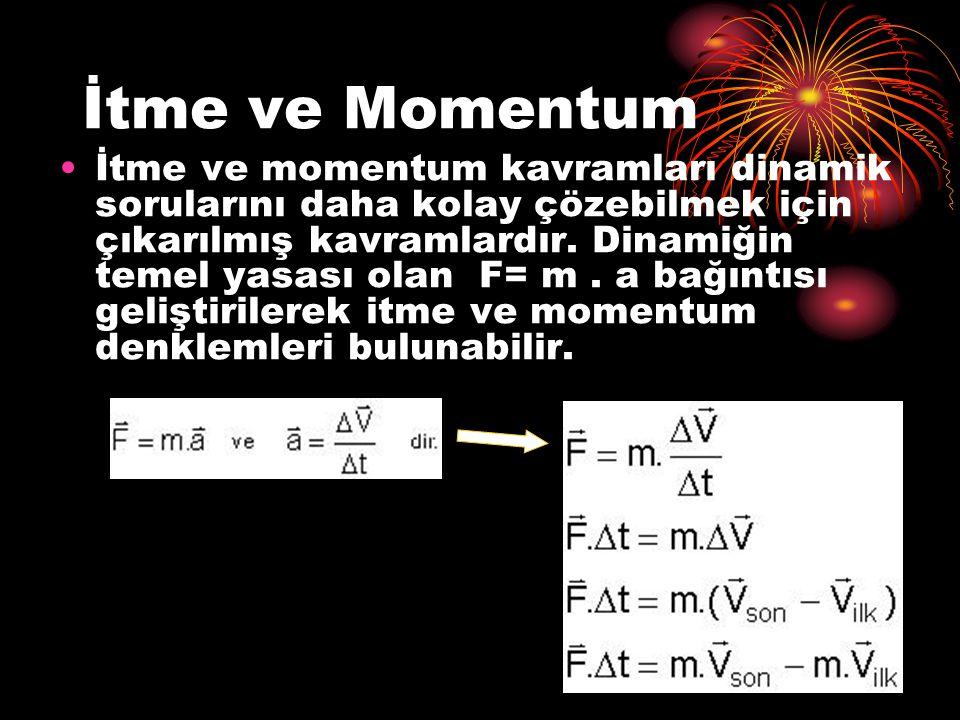 İtme ve Momentum İtme ve momentum kavramları dinamik sorularını daha kolay çözebilmek için çıkarılmış kavramlardır. Dinamiğin temel yasası olan F= m.