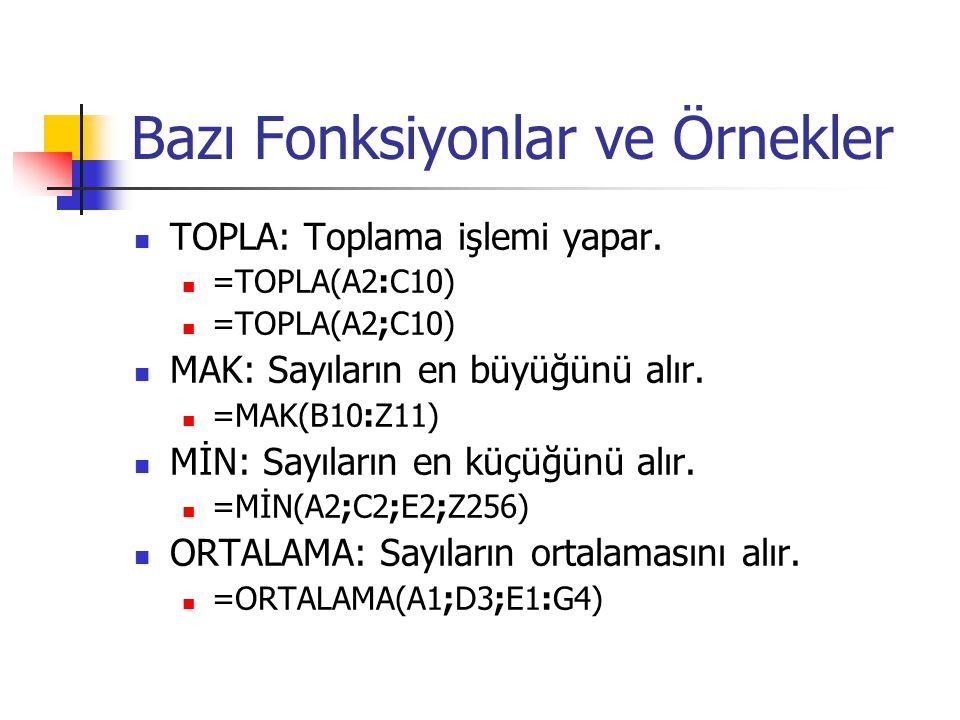 Bazı Fonksiyonlar ve Örnekler TOPLA: Toplama işlemi yapar. =TOPLA(A2:C10) =TOPLA(A2;C10) MAK: Sayıların en büyüğünü alır. =MAK(B10:Z11) MİN: Sayıların