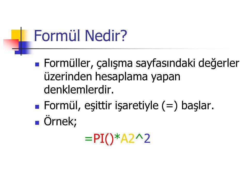 Formül Nedir? Formüller, çalışma sayfasındaki değerler üzerinden hesaplama yapan denklemlerdir. Formül, eşittir işaretiyle (=) başlar. Örnek; =PI()*A2
