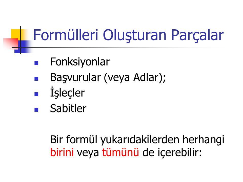 Formülleri Oluşturan Parçalar Fonksiyonlar Başvurular (veya Adlar); İşleçler Sabitler Bir formül yukarıdakilerden herhangi birini veya tümünü de içerebilir: