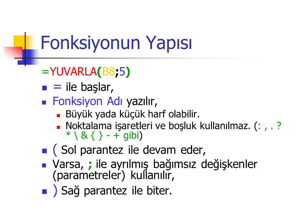 Fonksiyonun Yapısı =YUVARLA(B8;5) = ile başlar, Fonksiyon Adı yazılır, Büyük yada küçük harf olabilir. Noktalama işaretleri ve boşluk kullanılmaz. (:,