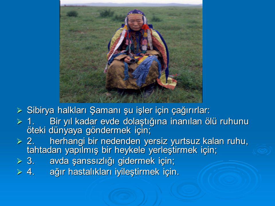  Sibirya halkları Şamanı şu işler için çağırırlar:  1.