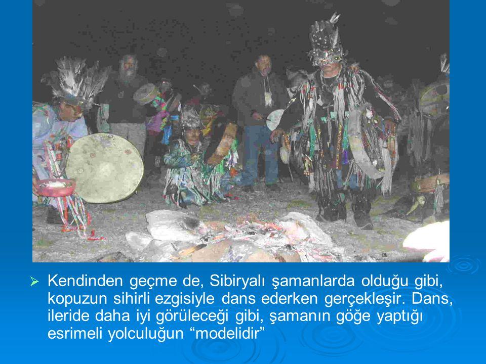   Kendinden geçme de, Sibiryalı şamanlarda olduğu gibi, kopuzun sihirli ezgisiyle dans ederken gerçekleşir.
