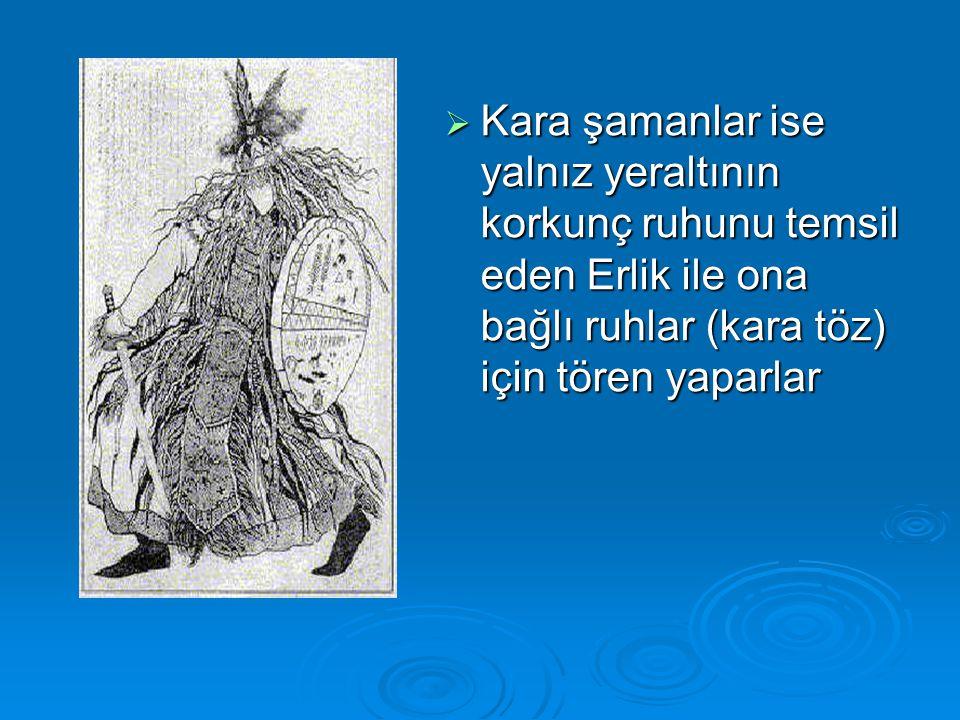  Şamanlık giysisi aslında bütün süs ve bezeklerle, şamana hayvan biçiminde yeni ve sihirli bir beden vermek işlevindedir.