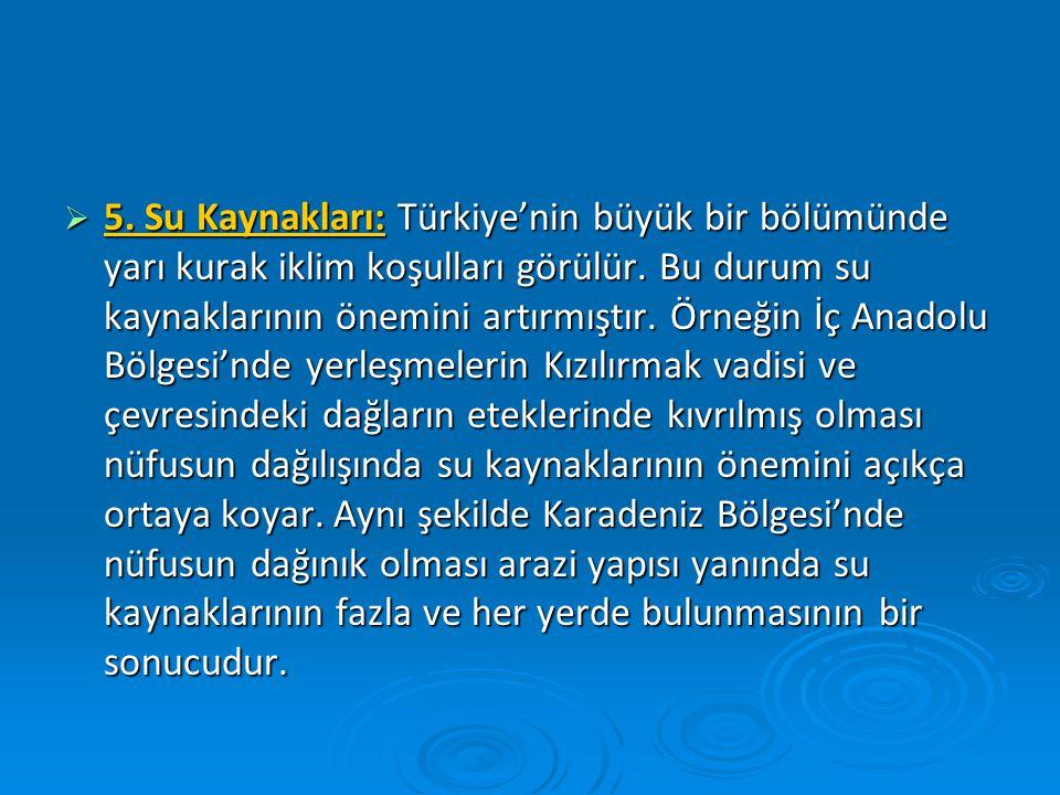  5. Su Kaynakları: Türkiye'nin büyük bir bölümünde yarı kurak iklim koşulları görülür. Bu durum su kaynaklarının önemini artırmıştır. Örneğin İç Anad