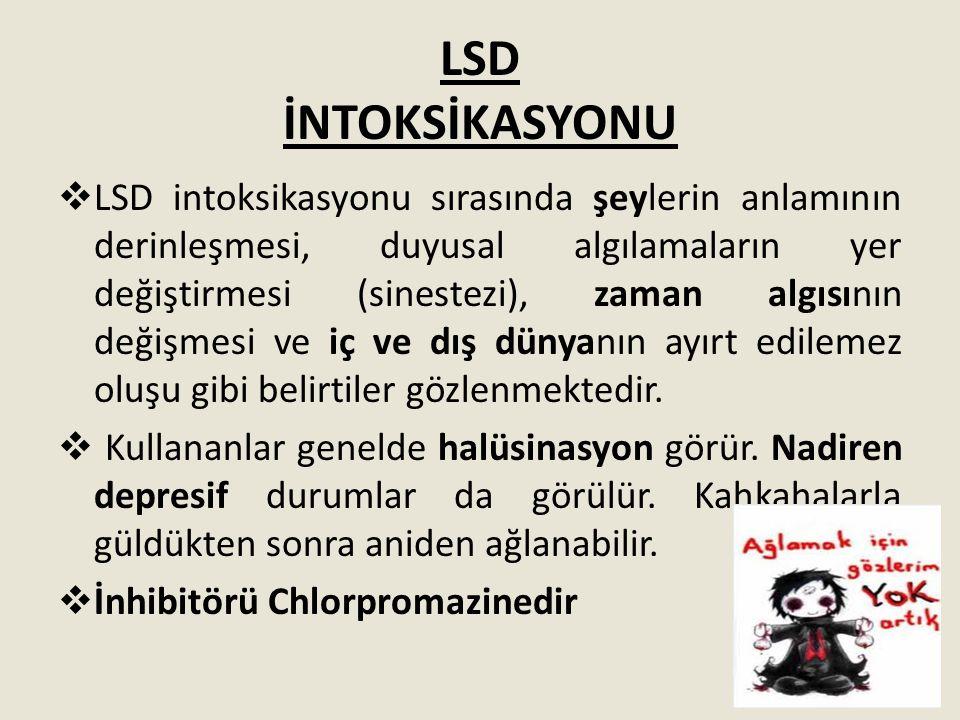 LSD İNTOKSİKASYONU  LSD intoksikasyonu sırasında şeylerin anlamının derinleşmesi, duyusal algılamaların yer değiştirmesi (sinestezi), zaman algısının
