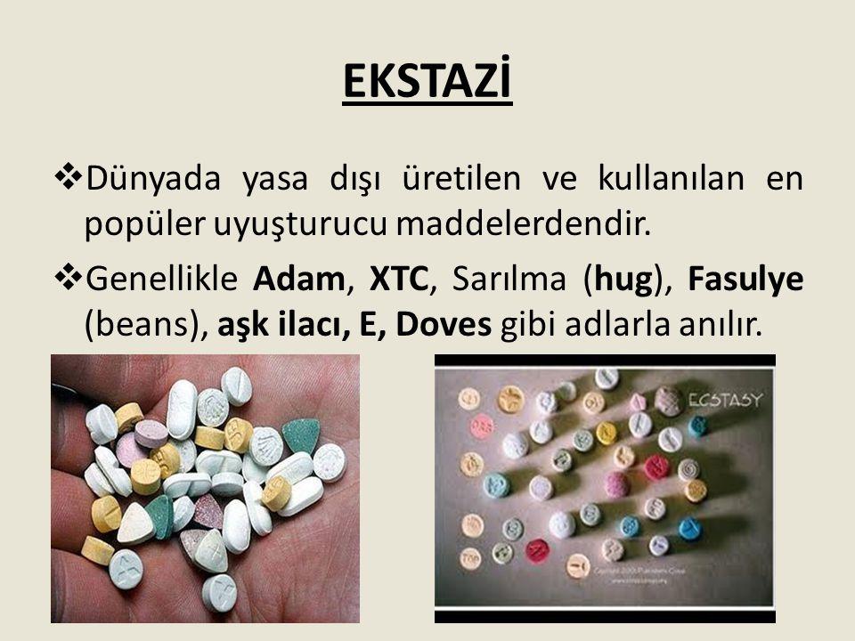 EKSTAZİ  Dünyada yasa dışı üretilen ve kullanılan en popüler uyuşturucu maddelerdendir.  Genellikle Adam, XTC, Sarılma (hug), Fasulye (beans), aşk i