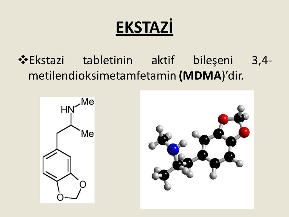 EKSTAZİ  Ekstazi tabletinin aktif bileşeni 3,4- metilendioksimetamfetamin (MDMA)'dir.