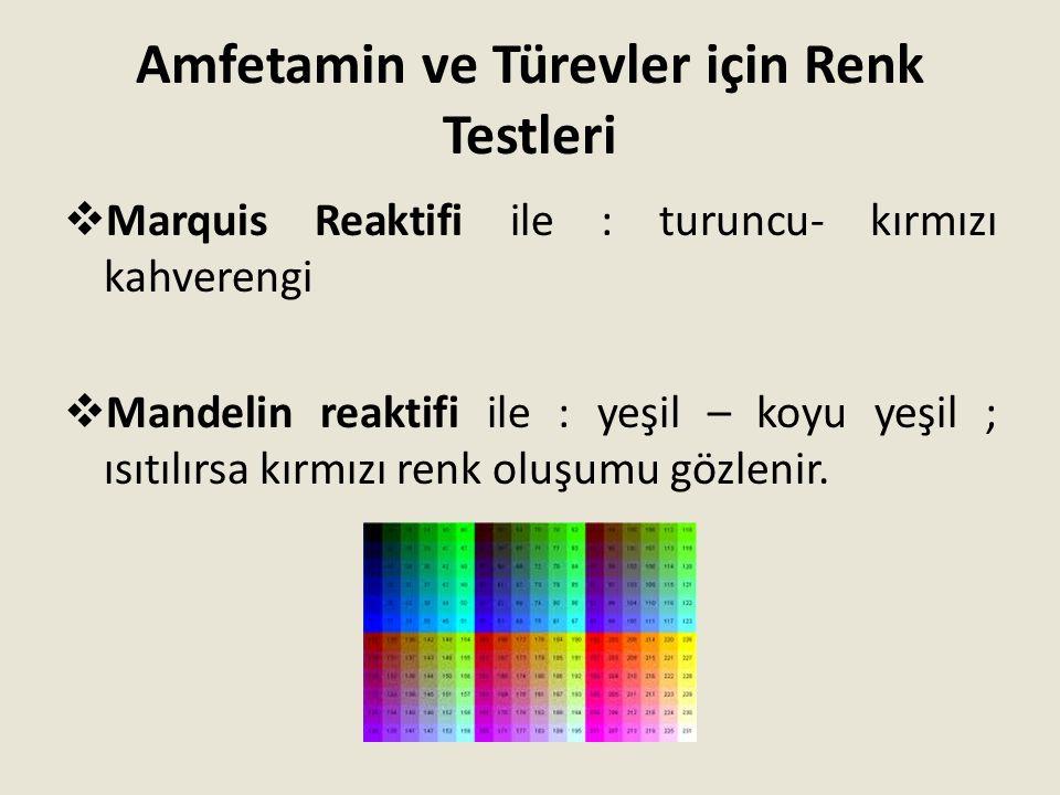 Amfetamin ve Türevler için Renk Testleri  Marquis Reaktifi ile : turuncu- kırmızı kahverengi  Mandelin reaktifi ile : yeşil – koyu yeşil ; ısıtılırs