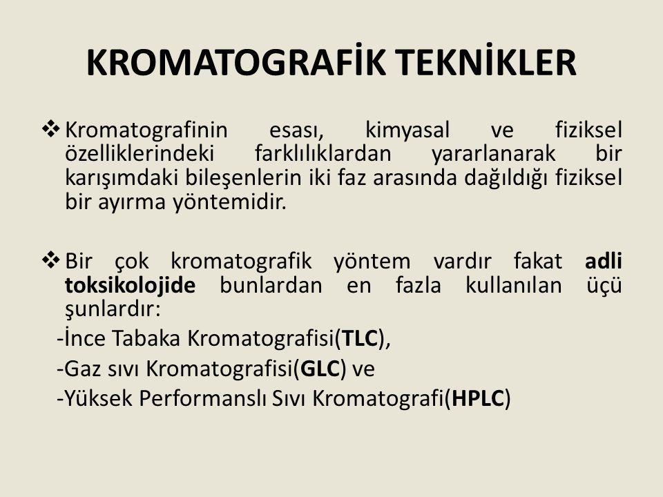 KROMATOGRAFİK TEKNİKLER  Kromatografinin esası, kimyasal ve fiziksel özelliklerindeki farklılıklardan yararlanarak bir karışımdaki bileşenlerin iki f