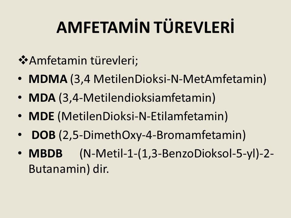 AMFETAMİN TÜREVLERİ  Amfetamin türevleri; MDMA (3,4 MetilenDioksi-N-MetAmfetamin) MDA (3,4-Metilendioksiamfetamin) MDE (MetilenDioksi-N-Etilamfetamin