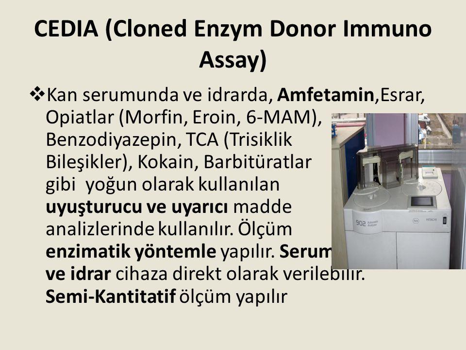 CEDIA (Cloned Enzym Donor Immuno Assay)  Kan serumunda ve idrarda, Amfetamin,Esrar, Opiatlar (Morfin, Eroin, 6-MAM), Benzodiyazepin, TCA (Trisiklik B