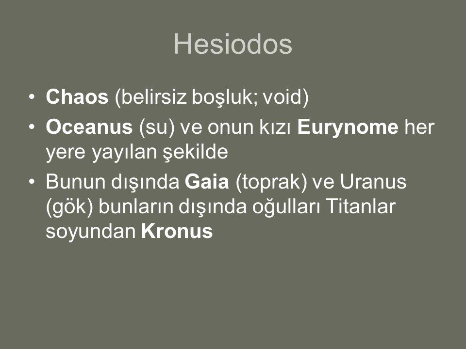Hesiodos Chaos (belirsiz boşluk; void) Oceanus (su) ve onun kızı Eurynome her yere yayılan şekilde Bunun dışında Gaia (toprak) ve Uranus (gök) bunları
