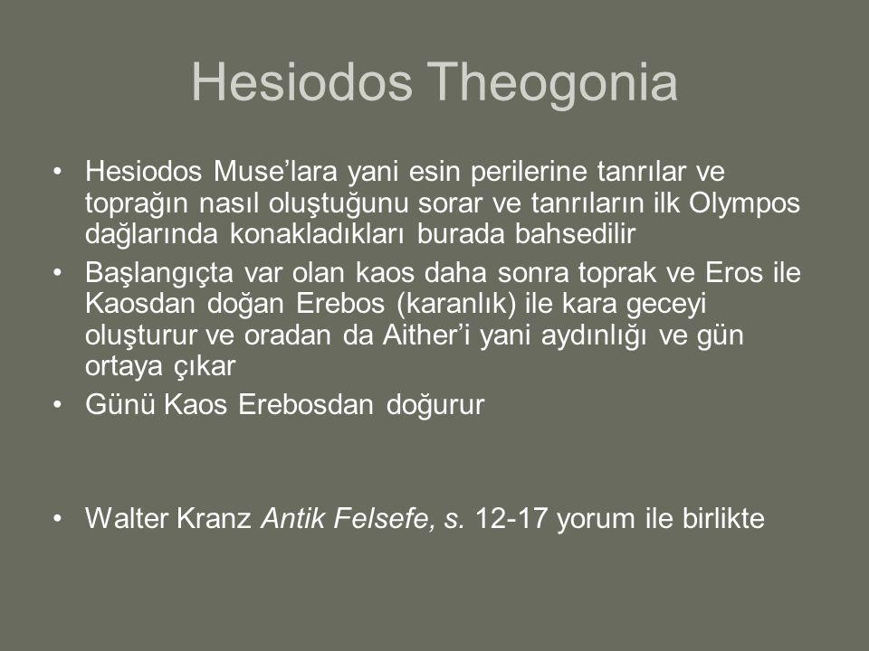 Hesiodos Theogonia Hesiodos Muse'lara yani esin perilerine tanrılar ve toprağın nasıl oluştuğunu sorar ve tanrıların ilk Olympos dağlarında konakladık