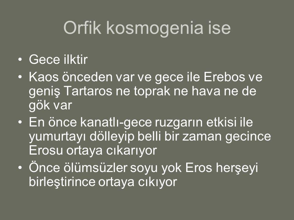 Orfik kosmogenia ise Gece ilktir Kaos önceden var ve gece ile Erebos ve geniş Tartaros ne toprak ne hava ne de gök var En önce kanatlı-gece ruzgarın e