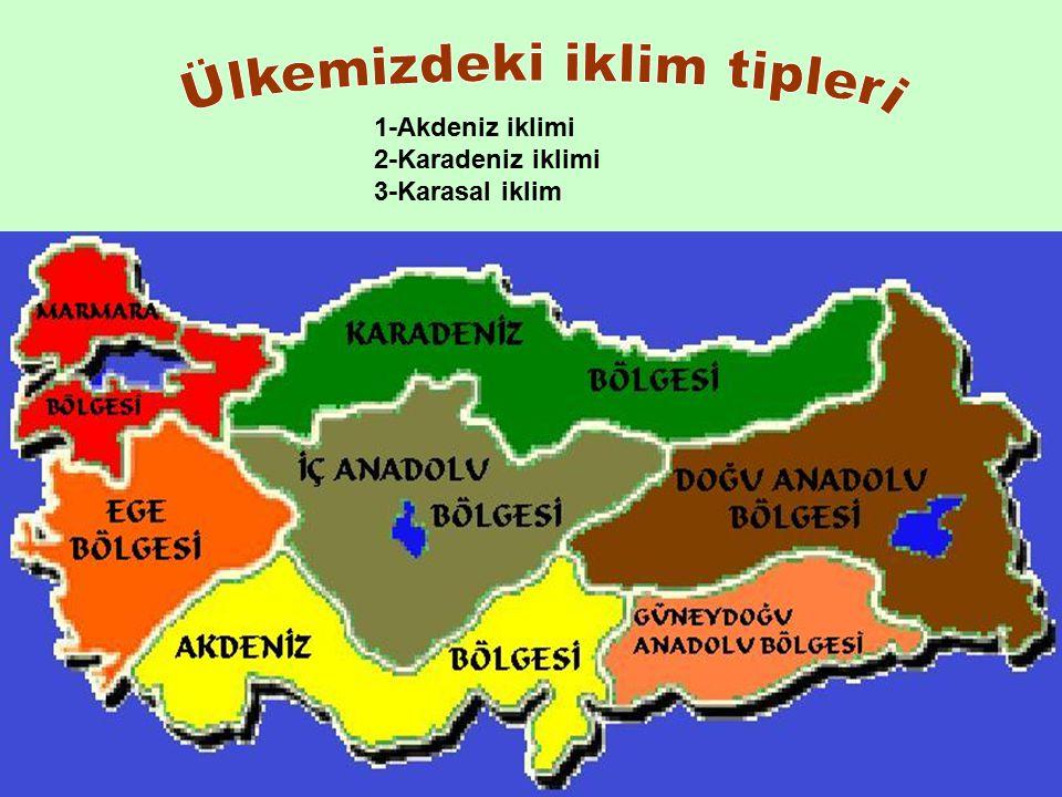 1-Akdeniz iklimi 2-Karadeniz iklimi 3-Karasal iklim