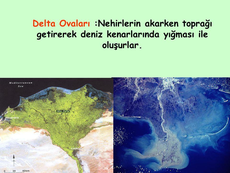 Delta Ovaları :Nehirlerin akarken toprağı getirerek deniz kenarlarında yığması ile oluşurlar.