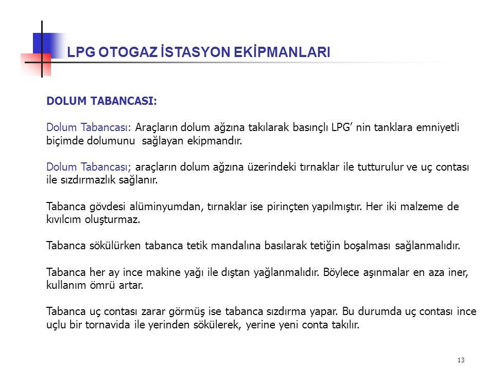 13 LPG OTOGAZ İSTASYON EKİPMANLARI DOLUM TABANCASI: Dolum Tabancası: Araçların dolum ağzına takılarak basınçlı LPG' nin tanklara emniyetli biçimde dol
