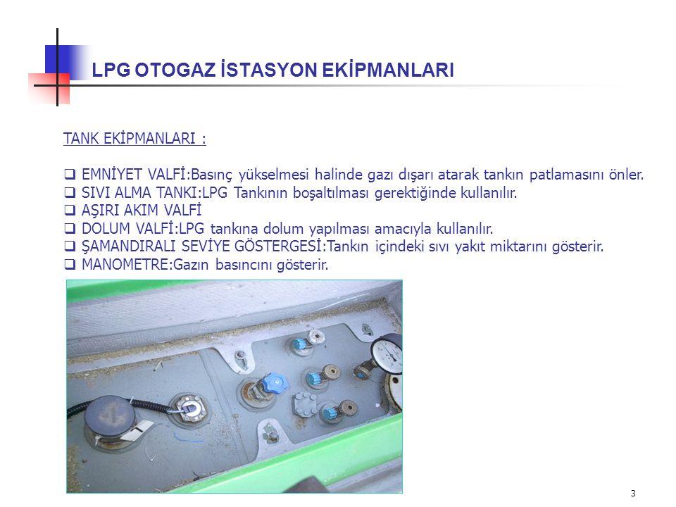 4 LPG OTOGAZ İSTASYON EKİPMANLARI 2- LPG POMPASI VE BORU TESİSATI : LPG' nin dispenserler vasıtasıyla satışının yapılabilmesi için özel pompalar ile basıncının artırılması ve boru tesisatı ile taşınması gerekmektedir.