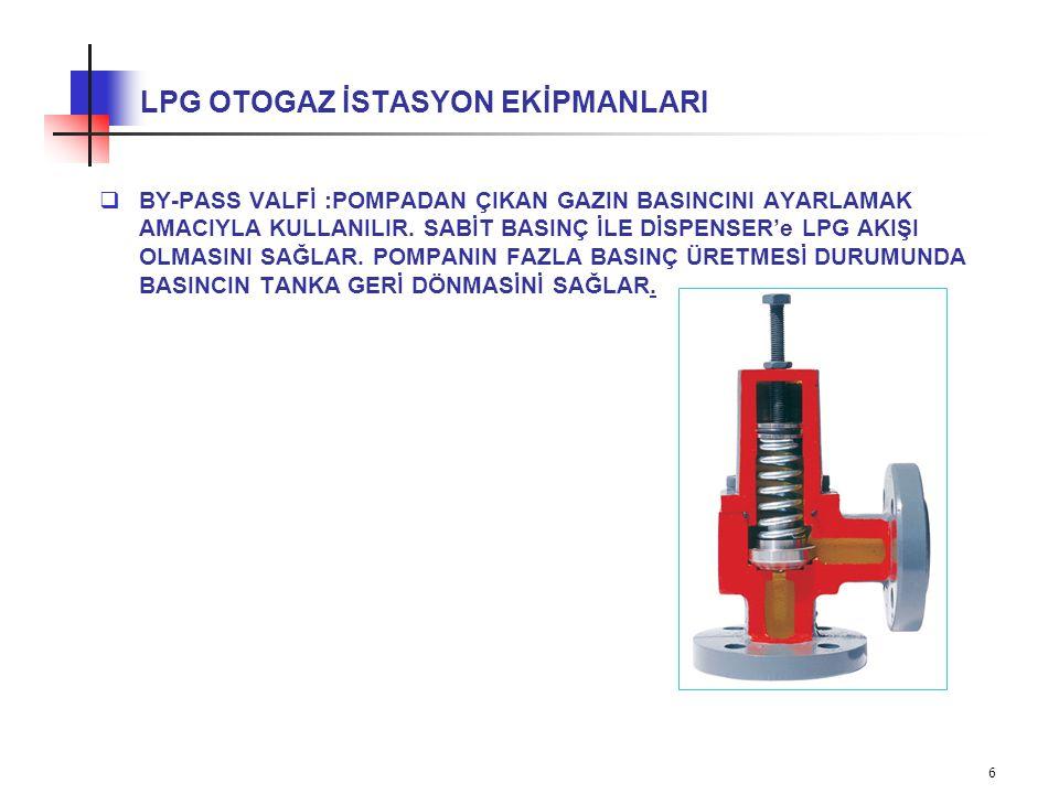 7 LPG OTOGAZ İSTASYON EKİPMANLARI 3- LPG DİSPENSERİ : İstasyona gelen araçlara LPG ikmali yapılan ve LPG miktarı ile parasal karşılığını hesaplayan cihazdır.