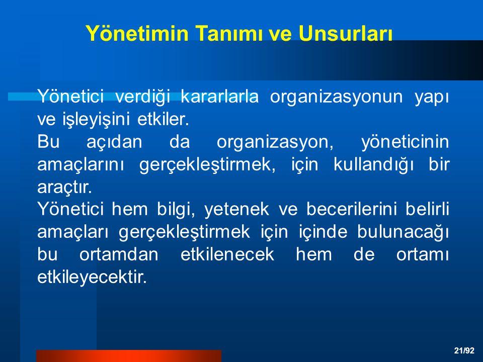 21/92 Yönetici verdiği kararlarla organizasyonun yapı ve işleyişini etkiler.