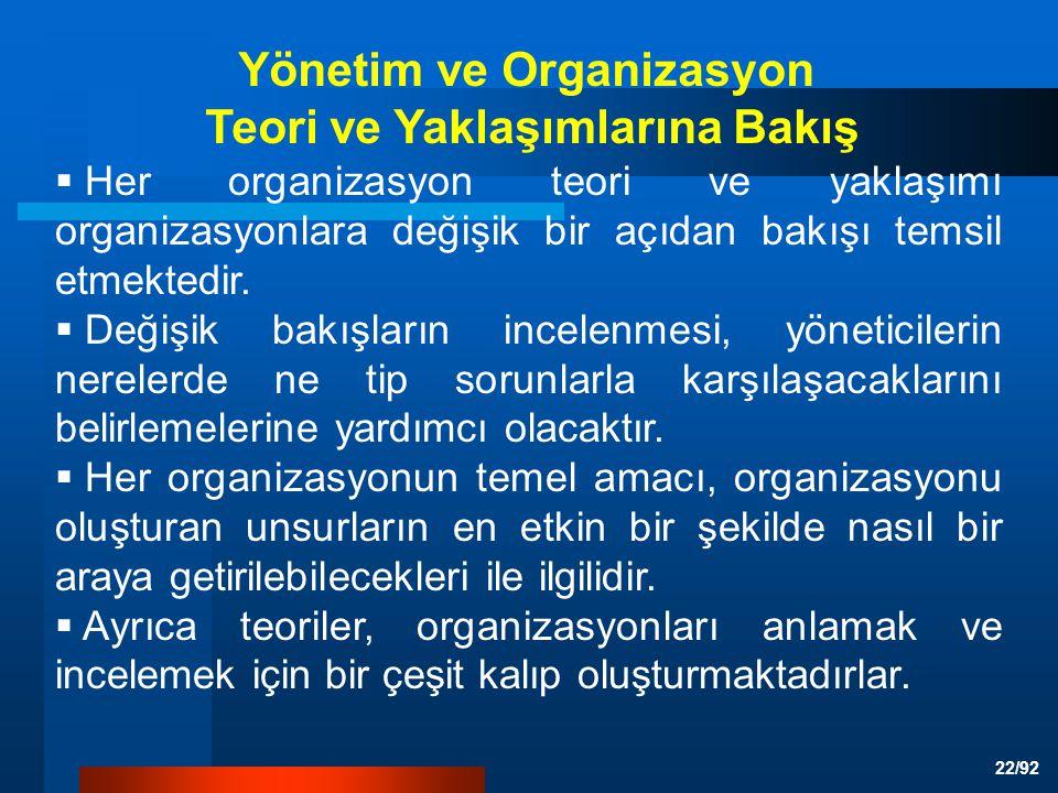 22/92  Her organizasyon teori ve yaklaşımı organizasyonlara değişik bir açıdan bakışı temsil etmektedir.