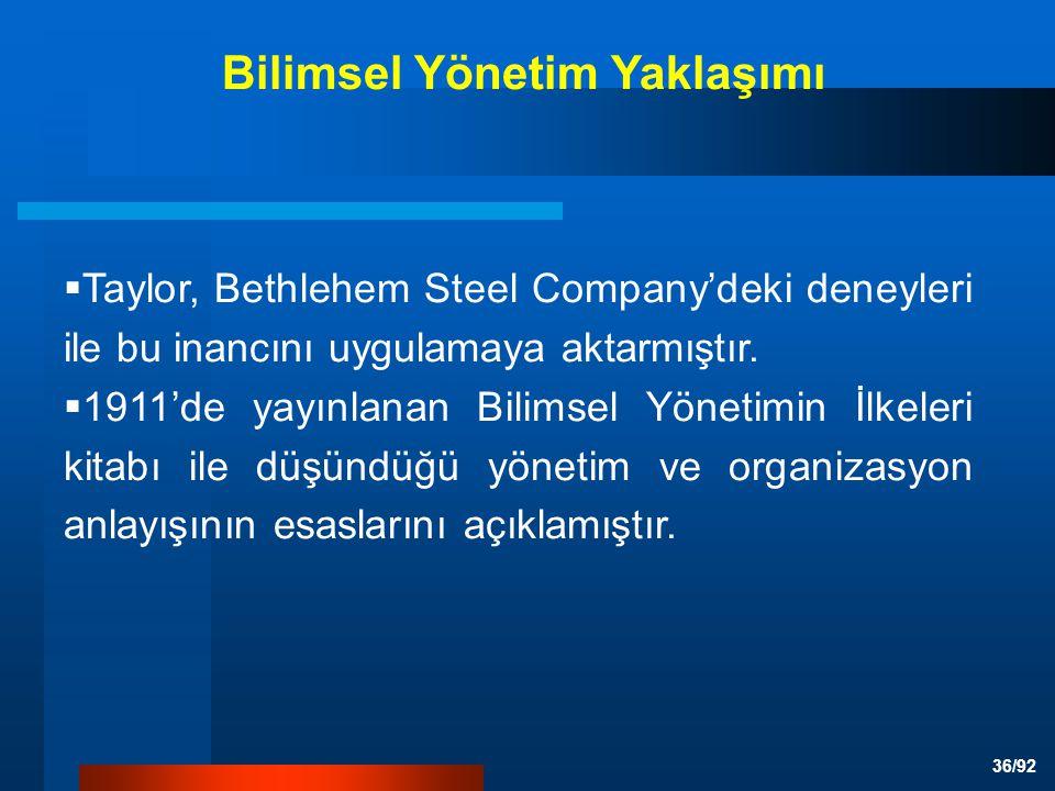 36/92  Taylor, Bethlehem Steel Company'deki deneyleri ile bu inancını uygulamaya aktarmıştır.