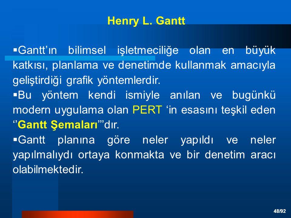 48/92  Gantt'ın bilimsel işletmeciliğe olan en büyük katkısı, planlama ve denetimde kullanmak amacıyla geliştirdiği grafik yöntemlerdir.