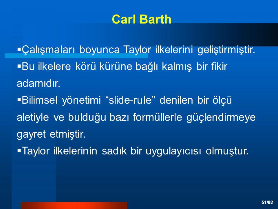51/92  Çalışmaları boyunca Taylor ilkelerini geliştirmiştir.