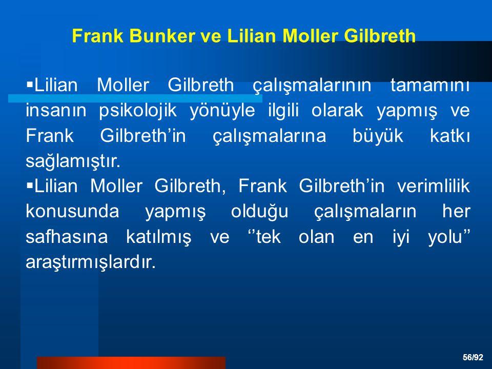 56/92  Lilian Moller Gilbreth çalışmalarının tamamını insanın psikolojik yönüyle ilgili olarak yapmış ve Frank Gilbreth'in çalışmalarına büyük katkı sağlamıştır.