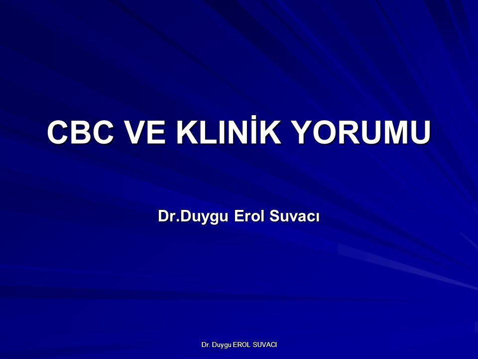 Dr. Duygu EROL SUVACI CBC VE KLINİK YORUMU Dr.Duygu Erol Suvacı