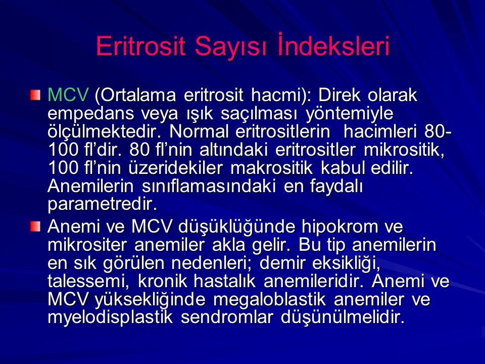 Eritrosit Sayısı İndeksleri MCV (Ortalama eritrosit hacmi): Direk olarak empedans veya ışık saçılması yöntemiyle ölçülmektedir. Normal eritrositlerin