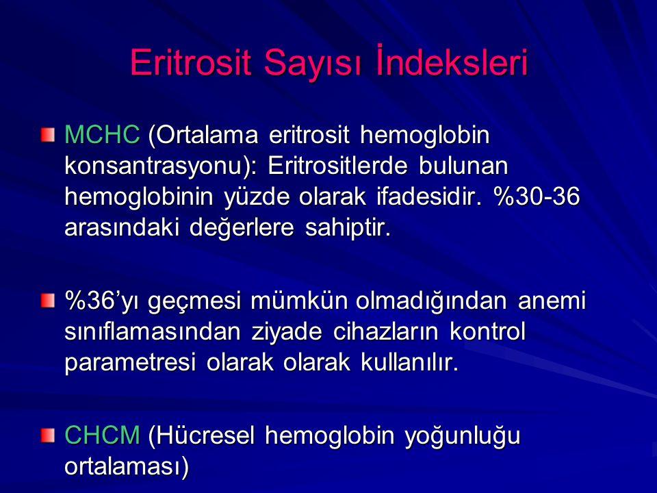 Eritrosit Sayısı İndeksleri MCHC (Ortalama eritrosit hemoglobin konsantrasyonu): Eritrositlerde bulunan hemoglobinin yüzde olarak ifadesidir. %30-36 a