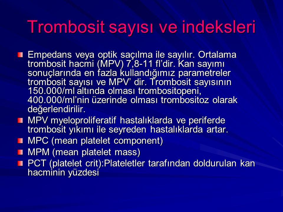 Trombosit sayısı ve indeksleri Empedans veya optik saçılma ile sayılır.