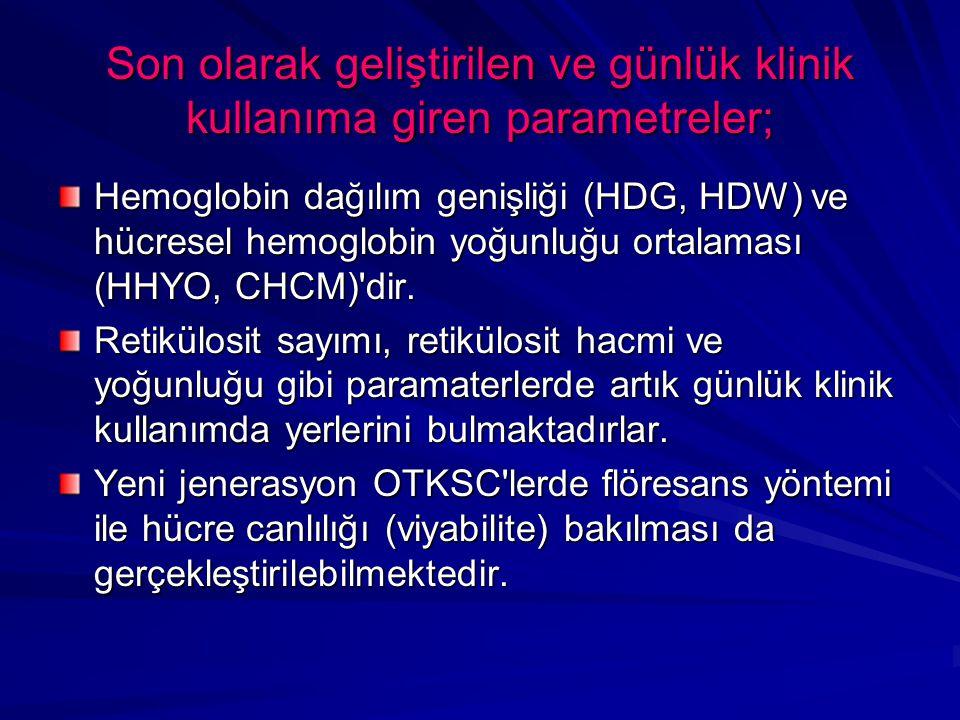 Son olarak geliştirilen ve günlük klinik kullanıma giren parametreler; Hemoglobin dağılım genişliği (HDG, HDW) ve hücresel hemoglobin yoğunluğu ortalaması (HHYO, CHCM) dir.