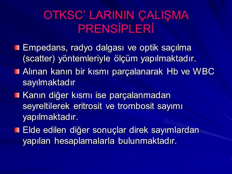 OTKSC' LARININ ÇALIŞMA PRENSİPLERİ 5 ayrı ölçüm kanalı mevcuttur.