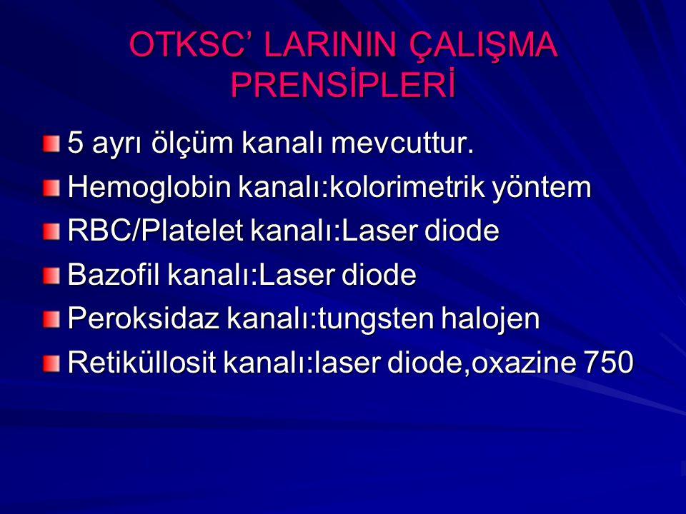 OTKSC' LARININ ÇALIŞMA PRENSİPLERİ 5 ayrı ölçüm kanalı mevcuttur. Hemoglobin kanalı:kolorimetrik yöntem RBC/Platelet kanalı:Laser diode Bazofil kanalı